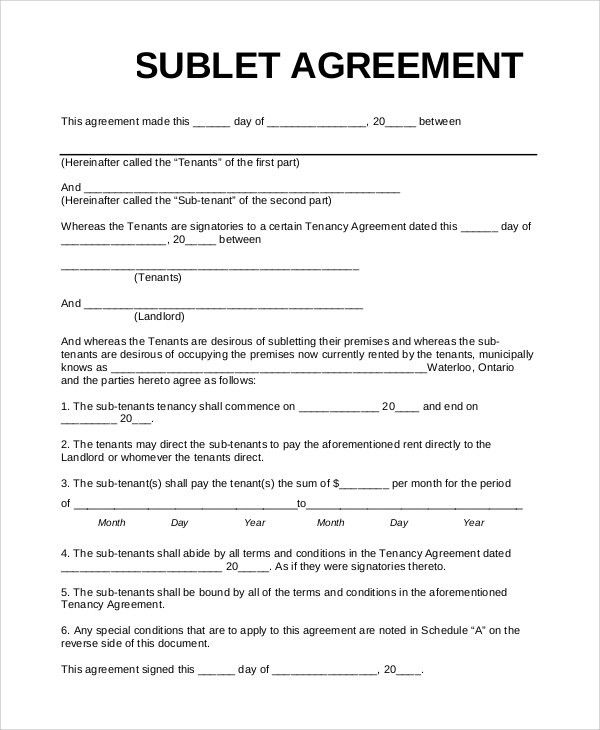 sublet lease agreement template sub tenancy agreement template