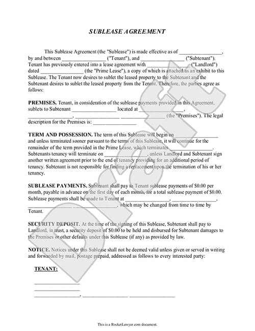 Sublease Contract Form | Sublease Agreement Template | Rocket Lawyer