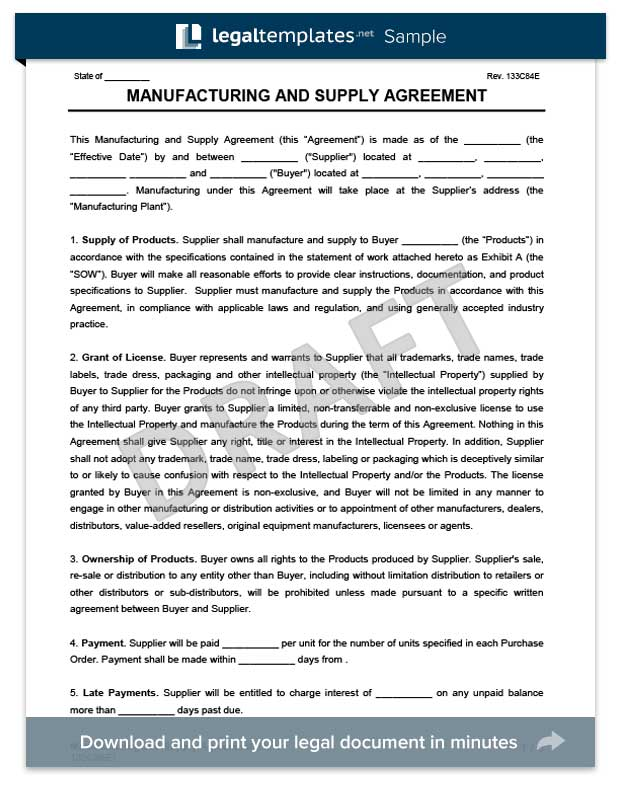 Manufacturing & Supply Agreement | Create & Download a Free Form