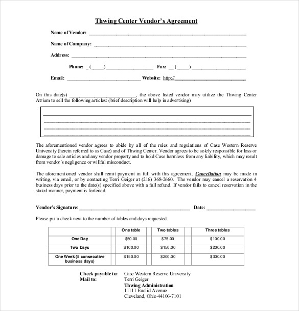 sample supplier agreement template event vendor agreement template
