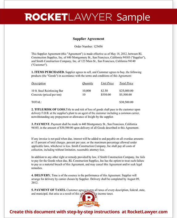 supplier agreement contract template supply agreement supply
