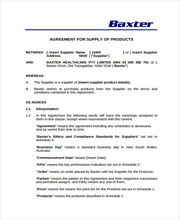 supply agreement template 9 supply contract templates sample