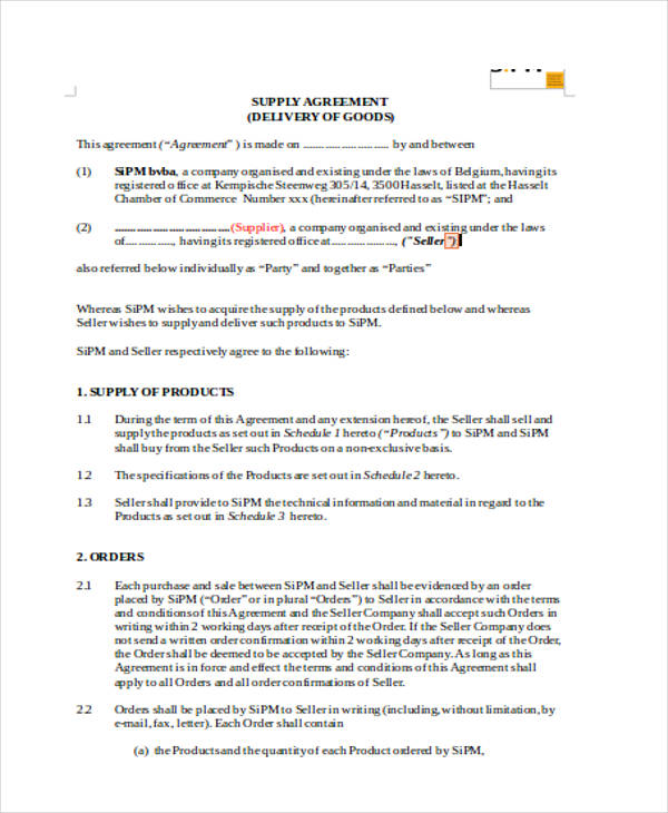supply agreements free templates 8 supply contract templates free