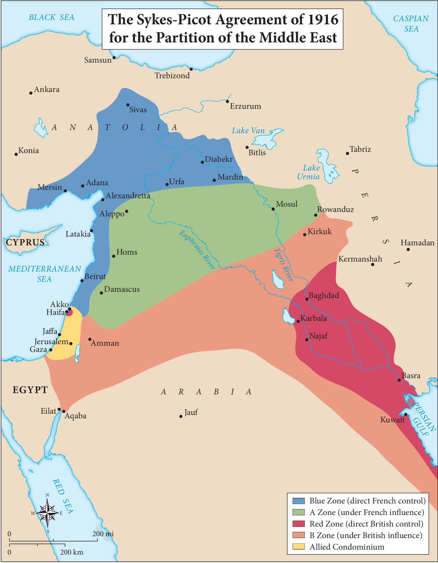 Map of The Sykes Picot Agreement (1916)