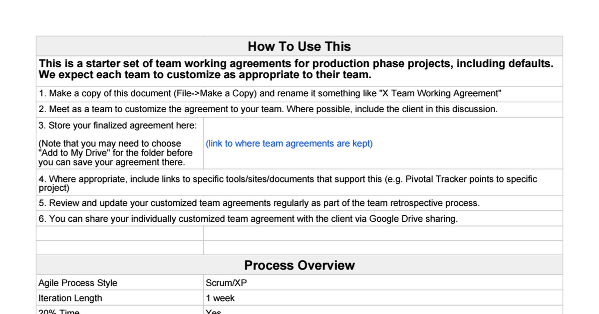 Team Working Agreement Google Sheets