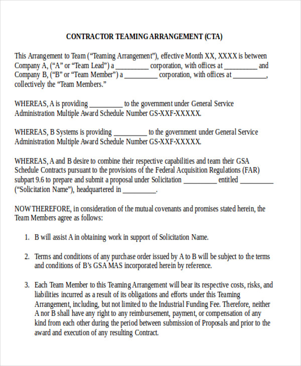 teaming agreement template 10 sample contractor agreement free
