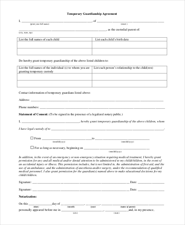 temporary custody agreement template anyone can be named a