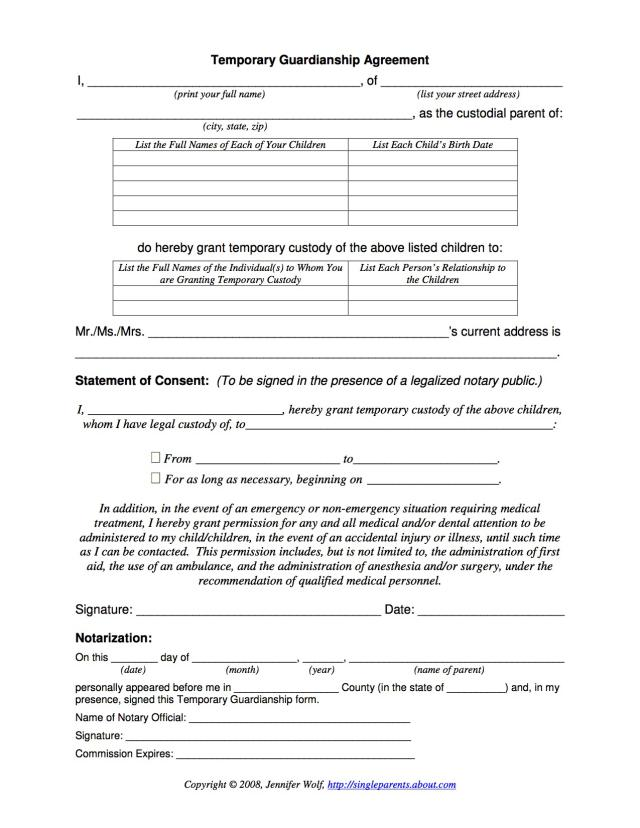 Temporary Guardianship Formpdffiller Fill Online, Printable