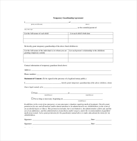 Temporary Guardianship Agreement Form Gtld World Congress