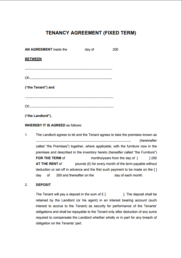joint tenancy agreement template 12 month tenancy agreement