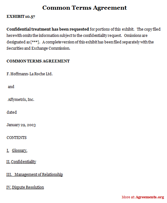 Common Terms Agreement, Sample Common Terms Agreement