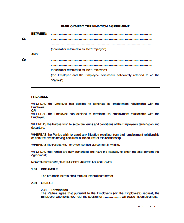 termination agreement template termination of employment agreement