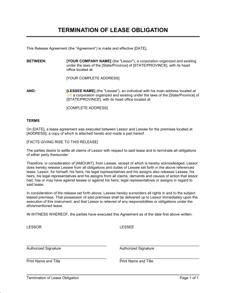 termination agreement template termination of lease obligation