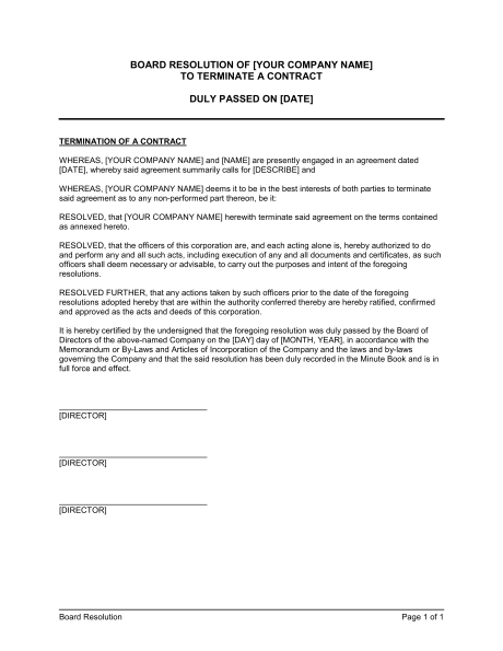 Board Resolution to Terminate a Contract Template & Sample Form
