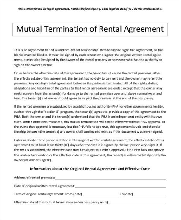 Mutual Termination of Contract Template & Sample Form | Biztree.com