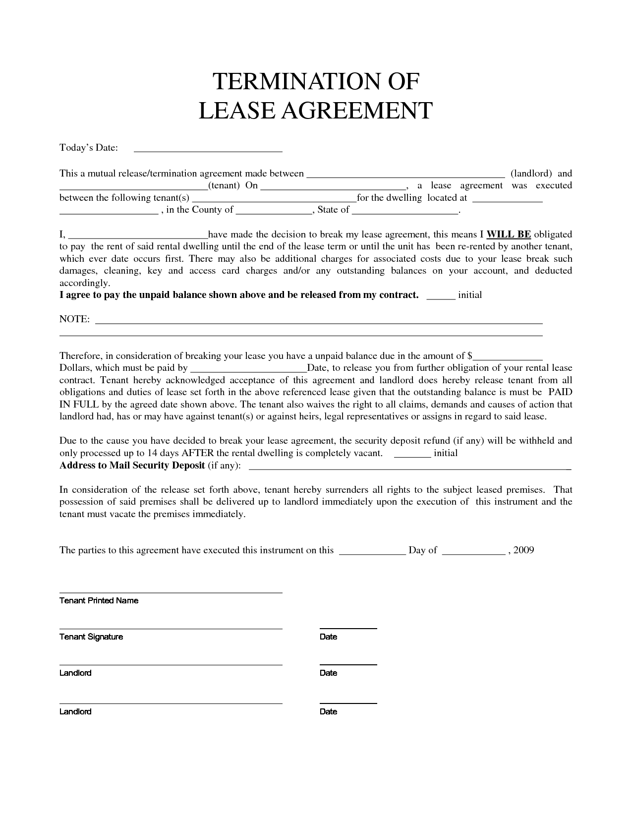 best photos of lease agreement early release clause notice to
