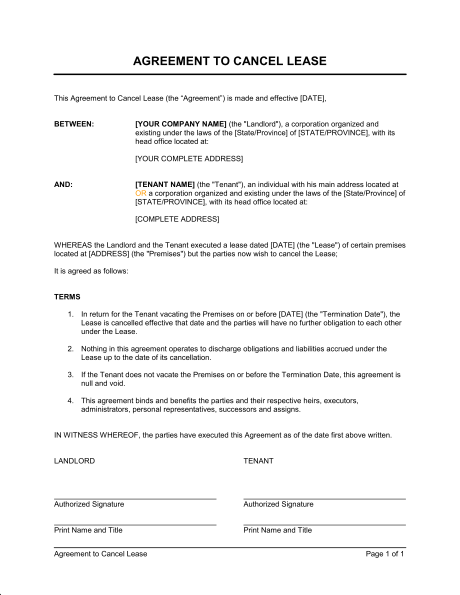 termination of rental agreement template agreement to cancel lease