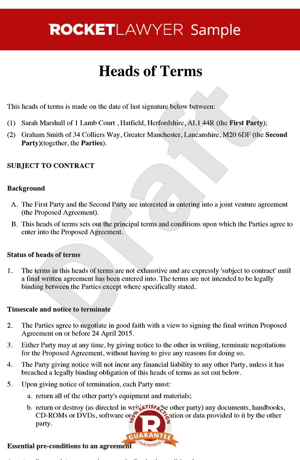 Heads of Terms Sample Heads of Agreement Template