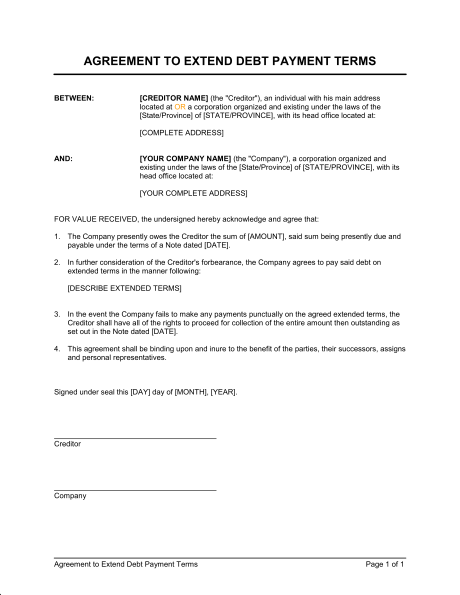 terms agreement template debt payment agreement template agreement