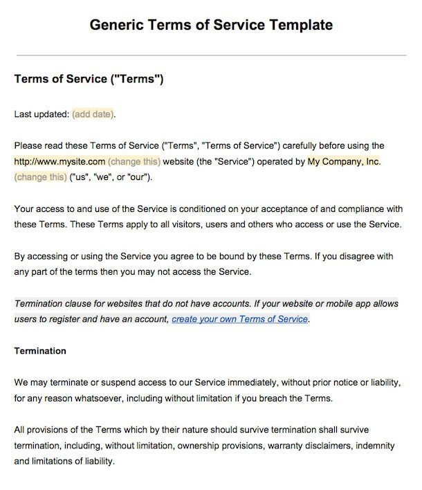 terms agreement template sample terms of service template