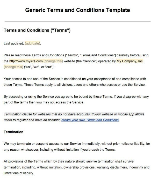 terms of agreement template sample terms and conditions template