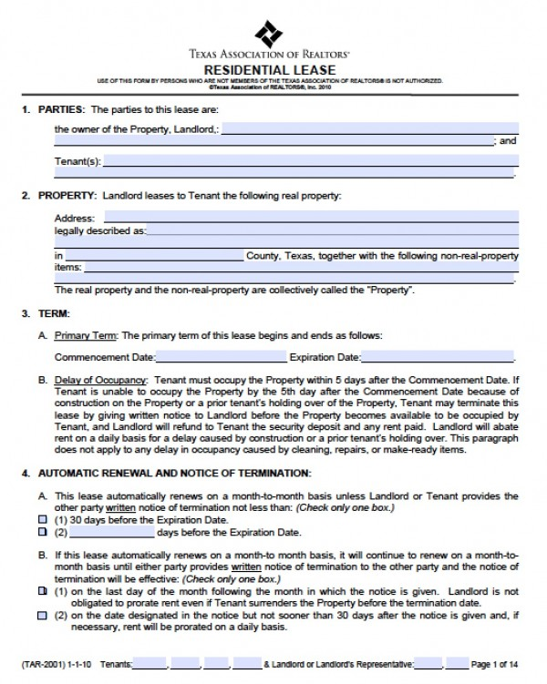 Texas Commercial Lease Agreement Business Template