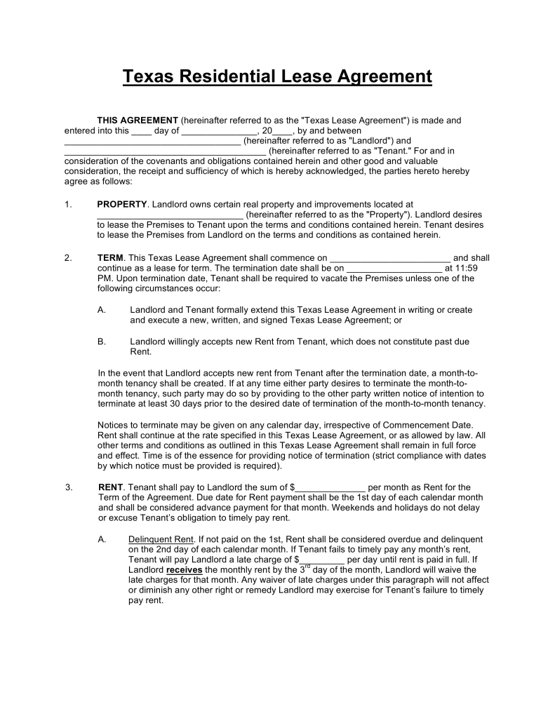 Free Texas Standard Residential Lease Agreement Template PDF