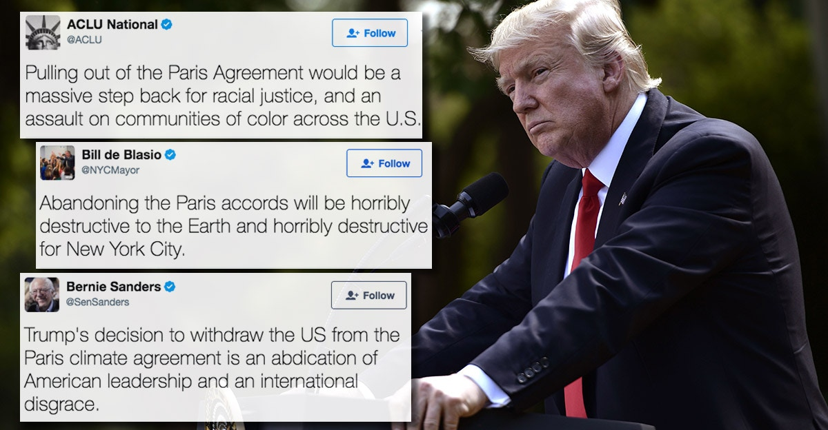 15 Twitter reactions from Trump abandoning the Paris climate