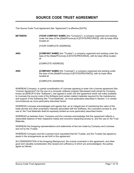 Land trust agreement sample in Word and Pdf formats