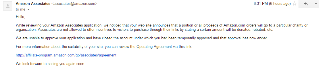 A warning to any partners in regards to the Amazon Affiliate