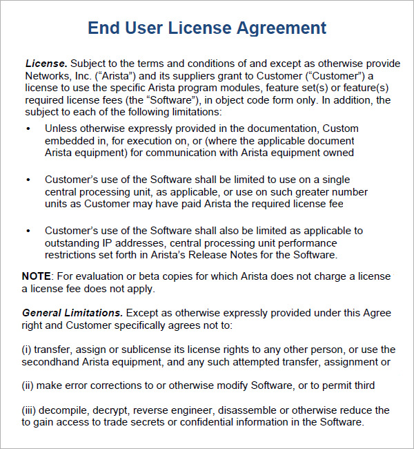 end user agreement template end user license agreement 6 free pdf