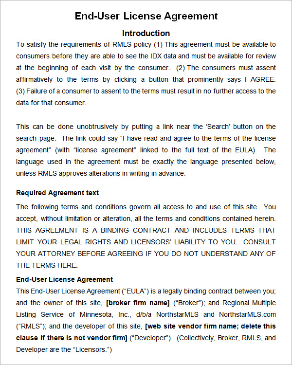 end user license agreement template end user license agreement