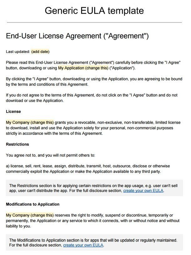 end user license agreement template sample eula template termsfeed