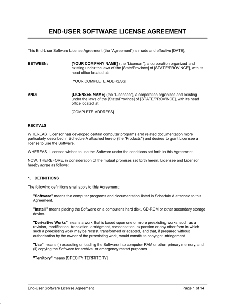 software licensing agreement template user agreement template end