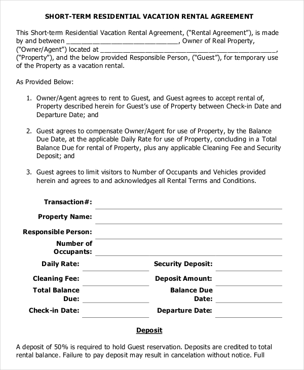 vacation rental agreement template 9 vacation rental agreement