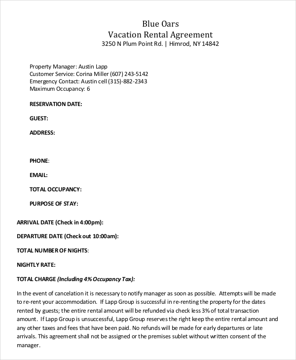 weekly rental agreement template vacation rental agreement 8 free