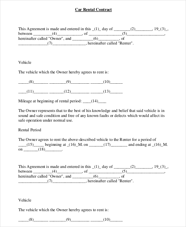 vehicle rental agreement template 16 car rental agreement