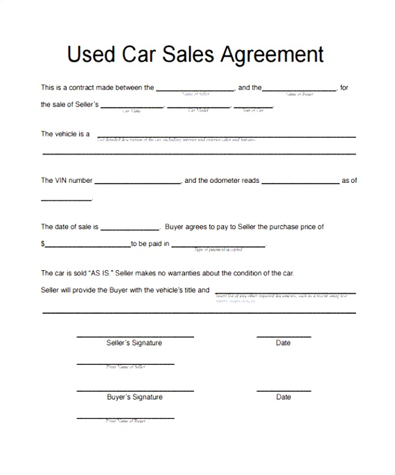 agreement of sale template for a vehicle motor vehicle sale