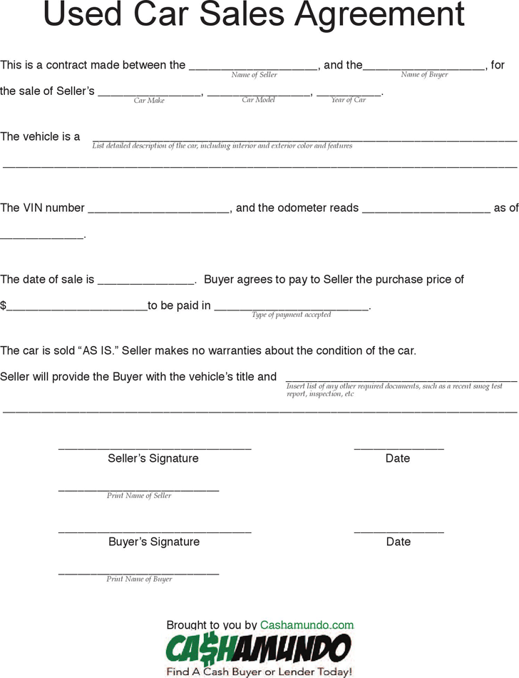 used vehicle sales agreement template private car sale agreement