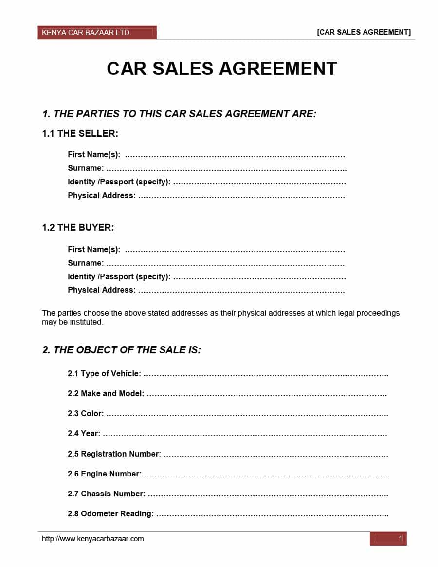 vehicle sales agreement template Into.anysearch.co