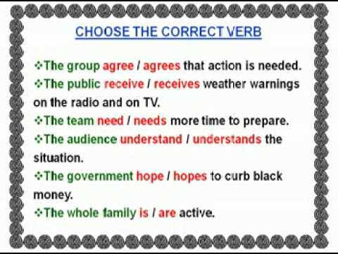 Subject Verb Agreement in the Simple Present Tense Part 3 YouTube