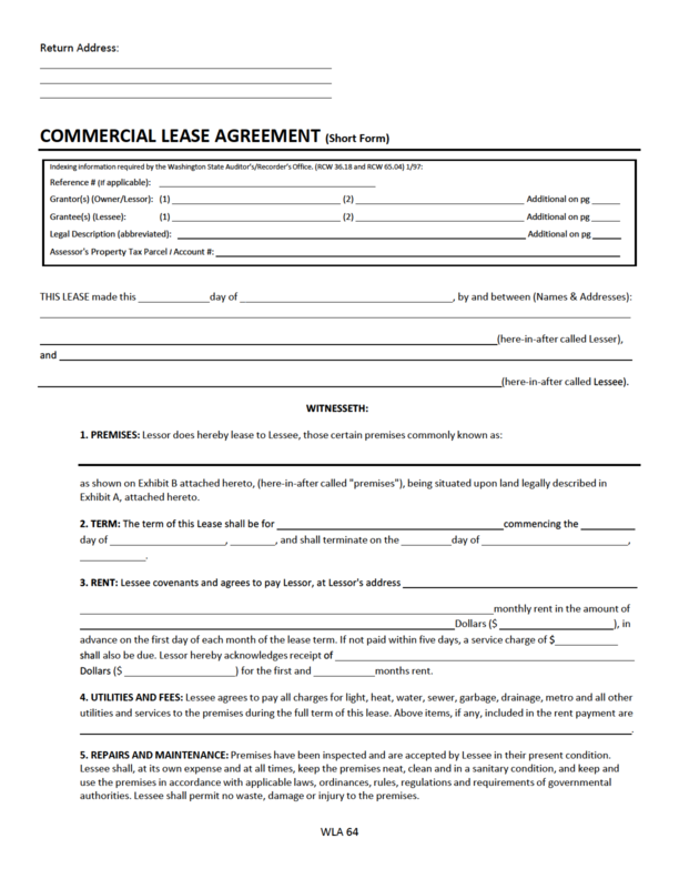 washington state lease agreement template washington commercial