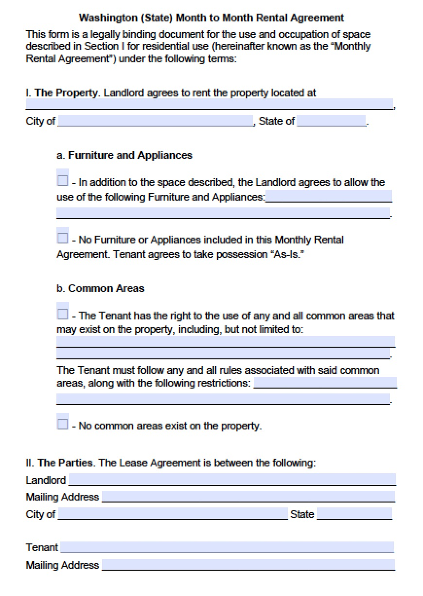 Download Washington (state) Rental Lease Agreement Forms and