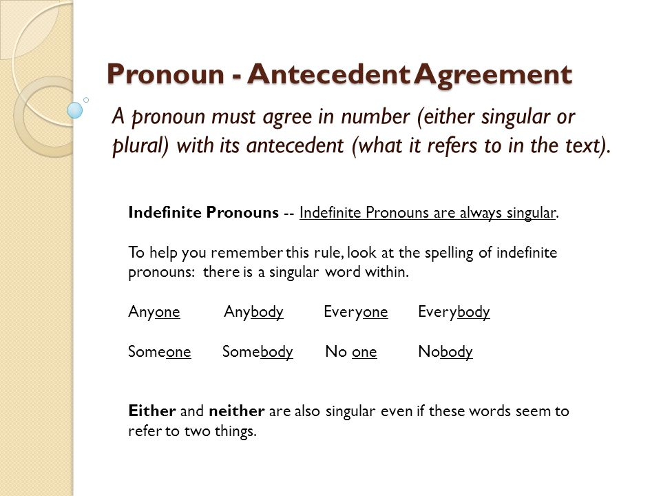 Pronoun Antecedent Agreement A pronoun must agree in number