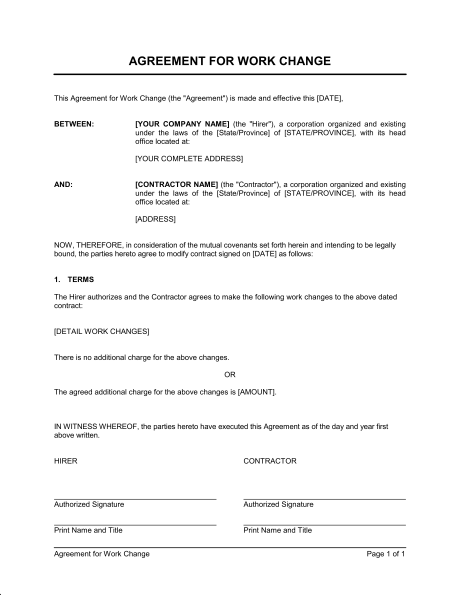 work agreement template agreement for work change template sample