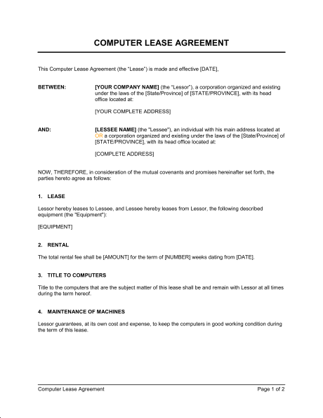 working agreement template computer lease agreement template