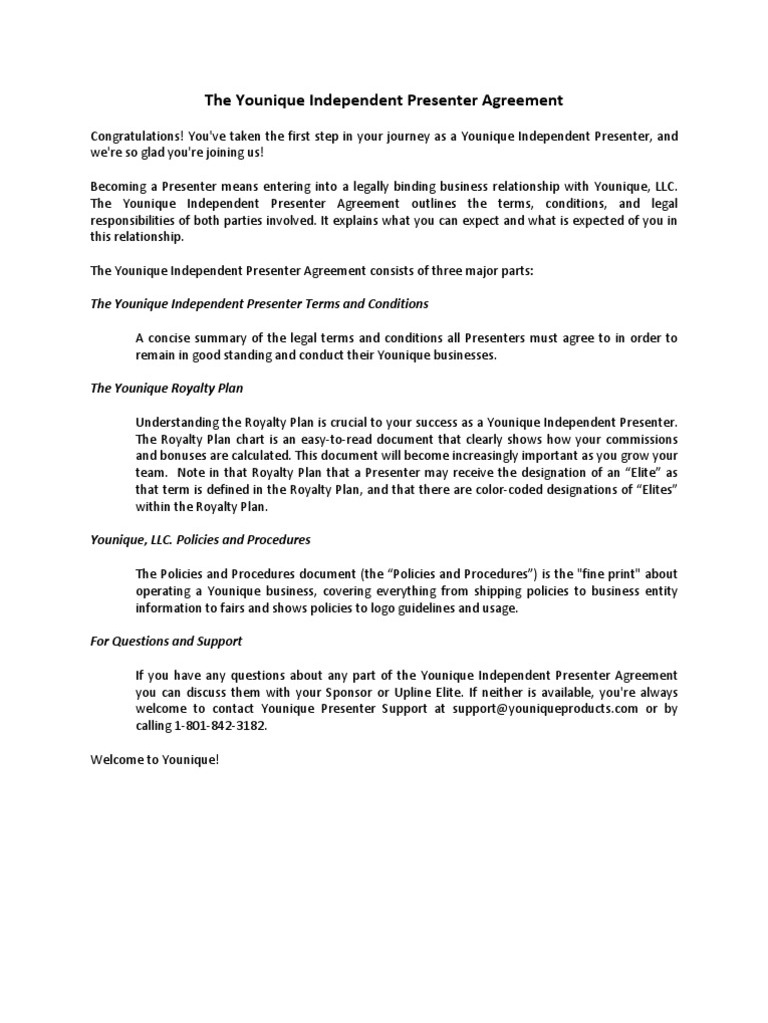 Younique Presenter Agreement Image collections Agreement Letter