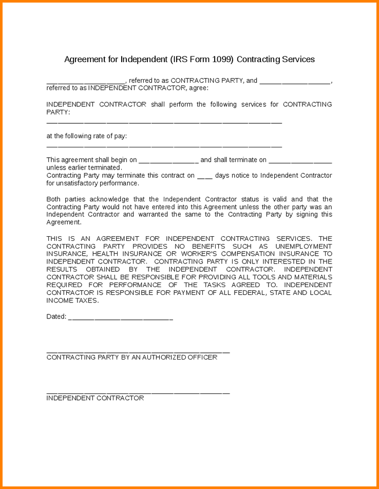 1099 employment agreement template 1099 contractor agreement