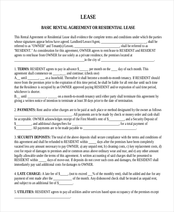 Sample Month to Month Lease Form 6+ Free Documents in PDF, Word