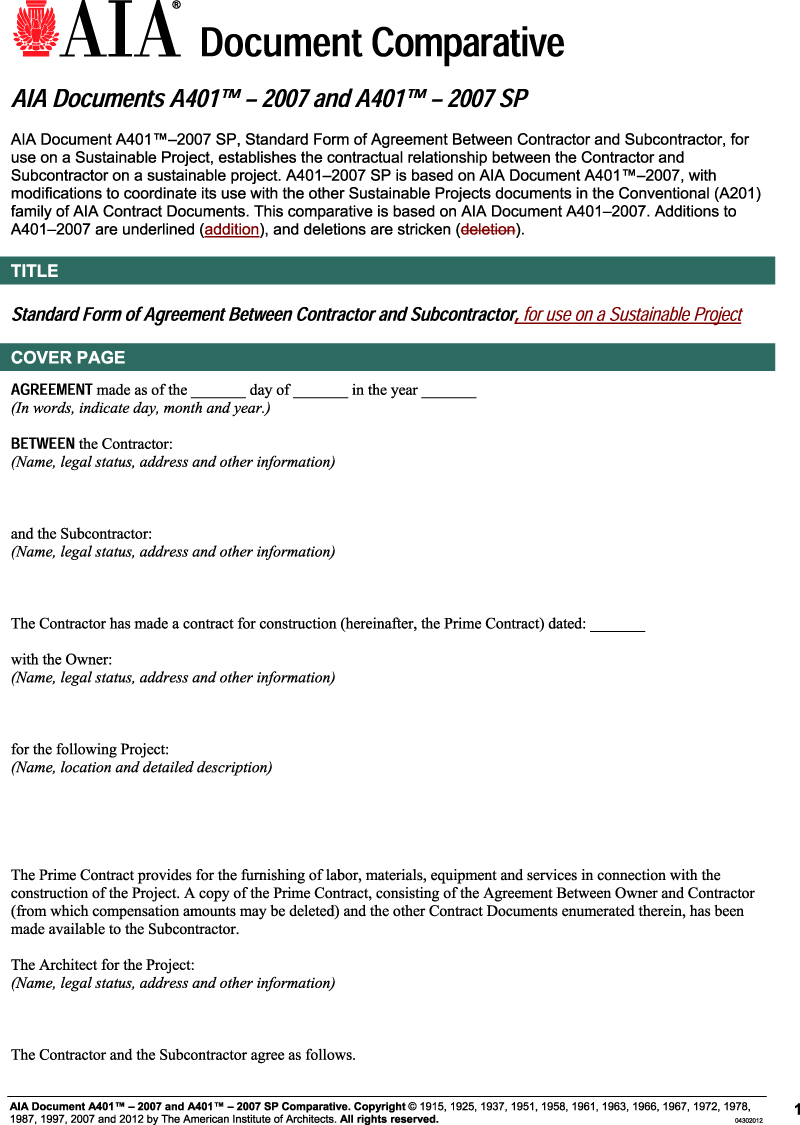 Aia Subcontractor Agreement Gtld World Congress